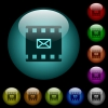 Send movie as email icons in color illuminated glass buttons - Send movie as email icons in color illuminated spherical glass buttons on black background. Can be used to black or dark templates