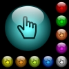 Hand cursor icons in color illuminated spherical glass buttons on black background. Can be used to black or dark templates - Hand cursor icons in color illuminated glass buttons