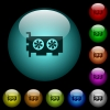 Computer video card icons in color illuminated spherical glass buttons on black background. Can be used to black or dark templates - Computer video card icons in color illuminated glass buttons