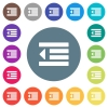 Decrease text indentation flat white icons on round color backgrounds - Decrease text indentation flat white icons on round color backgrounds. 17 background color variations are included.