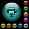 Network printer icons in color illuminated spherical glass buttons on black background. Can be used to black or dark templates - Network printer icons in color illuminated glass buttons