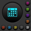 Hanging calendar dark push buttons with color icons - Hanging calendar dark push buttons with vivid color icons on dark grey background