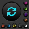 Refresh arrows dark push buttons with color icons - Refresh arrows dark push buttons with vivid color icons on dark grey background