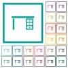 Drawer desk flat color icons with quadrant frames - Drawer desk flat color icons with quadrant frames on white background