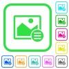 Image options vivid colored flat icons - Image options vivid colored flat icons in curved borders on white background