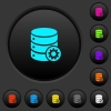 Database settings dark push buttons with color icons - Database settings dark push buttons with vivid color icons on dark grey background