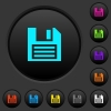 Floppy disk with vignette dark push buttons with vivid color icons on dark grey background - Floppy disk with vignette dark push buttons with color icons