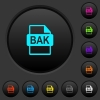 BAK file format dark push buttons with color icons - BAK file format dark push buttons with vivid color icons on dark grey background