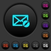 Write mail dark push buttons with vivid color icons on dark grey background - Write mail dark push buttons with color icons