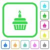 Birthday cupcake vivid colored flat icons - Birthday cupcake vivid colored flat icons in curved borders on white background