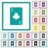 Three of clubs card flat color icons with quadrant frames - Three of clubs card flat color icons with quadrant frames on white background