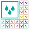 Water drops flat color icons with quadrant frames - Water drops flat color icons with quadrant frames on white background