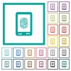 Mobile fingerprint identification flat color icons with quadrant frames - Mobile fingerprint identification flat color icons with quadrant frames on white background