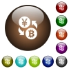 Yen Bitcoin money exchange color glass buttons - Yen Bitcoin money exchange white icons on round color glass buttons