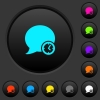 Blog comment time dark push buttons with color icons - Blog comment time dark push buttons with vivid color icons on dark grey background
