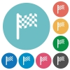 Race flag flat round icons - Race flag flat white icons on round color backgrounds
