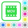 MOV movie format vivid colored flat icons - MOV movie format vivid colored flat icons in curved borders on white background