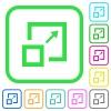 Enlarge window vivid colored flat icons - Enlarge window vivid colored flat icons in curved borders on white background