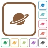 Planet simple icons - Planet simple icons in color rounded square frames on white background