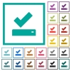 Successfully saved flat color icons with quadrant frames - Successfully saved flat color icons with quadrant frames on white background