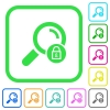 Search locked vivid colored flat icons - Search locked vivid colored flat icons in curved borders on white background