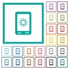 Mobile display brightness flat color icons with quadrant frames - Mobile display brightness flat color icons with quadrant frames on white background