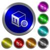 Worldwide package transportation luminous coin-like round color buttons - Worldwide package transportation icons on round luminous coin-like color steel buttons