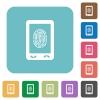 Mobile fingerprint identification rounded square flat icons - Mobile fingerprint identification white flat icons on color rounded square backgrounds