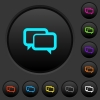 Chat bubbles dark push buttons with color icons - Chat bubbles dark push buttons with vivid color icons on dark grey background