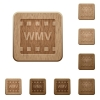 WMV movie format wooden buttons - WMV movie format on rounded square carved wooden button styles