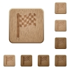 Race flag wooden buttons - Race flag on rounded square carved wooden button styles