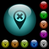 Cancel GPS map location icons in color illuminated glass buttons - Cancel GPS map location icons in color illuminated spherical glass buttons on black background. Can be used to black or dark templates