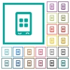 Mobile applications flat color icons with quadrant frames - Mobile applications flat color icons with quadrant frames on white background