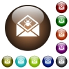 Open mail with malware symbol color glass buttons - Open mail with malware symbol white icons on round color glass buttons