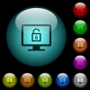 Unlock screen icons in color illuminated glass buttons - Unlock screen icons in color illuminated spherical glass buttons on black background. Can be used to black or dark templates