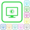 Adjust screen saturation vivid colored flat icons - Adjust screen saturation vivid colored flat icons in curved borders on white background