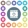 End movie flat white icons on round color backgrounds. 17 background color variations are included. - End movie flat white icons on round color backgrounds