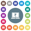 Laptop with Rupee sign flat white icons on round color backgrounds. 17 background color variations are included. - Laptop with Rupee sign flat white icons on round color backgrounds