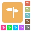 Signpost rounded square flat icons - Signpost flat icons on rounded square vivid color backgrounds.