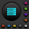 Rack servers dark push buttons with vivid color icons on dark grey background - Rack servers dark push buttons with color icons