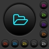 Open folder dark push buttons with color icons - Open folder dark push buttons with vivid color icons on dark grey background
