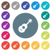 Acoustic guitar flat white icons on round color backgrounds - Acoustic guitar flat white icons on round color backgrounds. 17 background color variations are included.