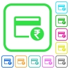 Rupee credit card vivid colored flat icons - Rupee credit card vivid colored flat icons in curved borders on white background