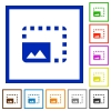 Enlarge photo flat color icons in square frames on white background - Enlarge photo flat framed icons