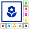 Flower flat color icons in square frames on white background - Flower flat framed icons