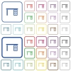 Drawer desk outlined flat color icons - Drawer desk color flat icons in rounded square frames. Thin and thick versions included.