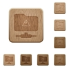 FTP warning wooden buttons - FTP warning on rounded square carved wooden button styles