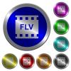 FLV movie format luminous coin-like round color buttons - FLV movie format icons on round luminous coin-like color steel buttons