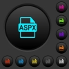 ASPX file format dark push buttons with color icons - ASPX file format dark push buttons with vivid color icons on dark grey background