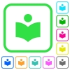 Library vivid colored flat icons - Library vivid colored flat icons in curved borders on white background